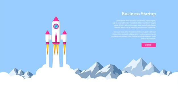Picture of rocket flying above clouds, business startup banner concept,