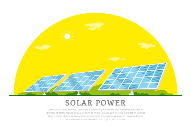 Picture of solar batteries,   concept banner of renewable solar energy