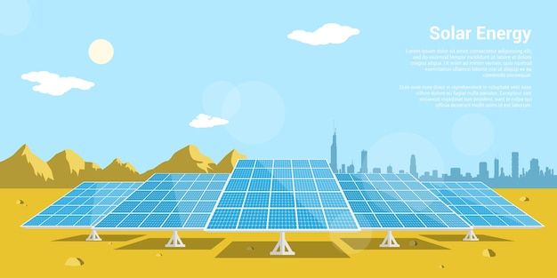 Picture of solar batteries in a desert with mountains and big city silhouette on background,  style concept of renewable solar energy