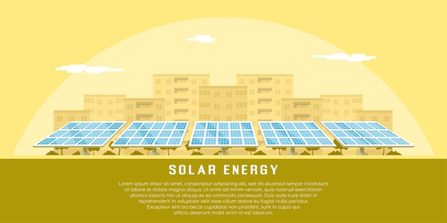 Picture of solar batteries with city silhouette on background,   concept of renewable solar energy