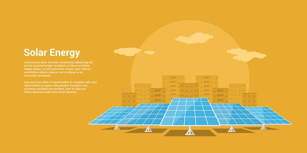 Picture of solar batteries with mountains city silhouette on background,  style concept of renewable solar energy