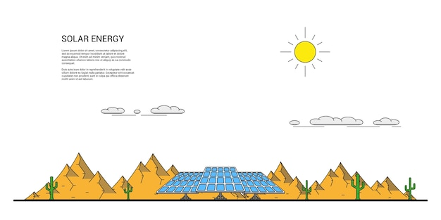 Picture of solar panels in front of desert landscape with cactuses around and mountains on background
