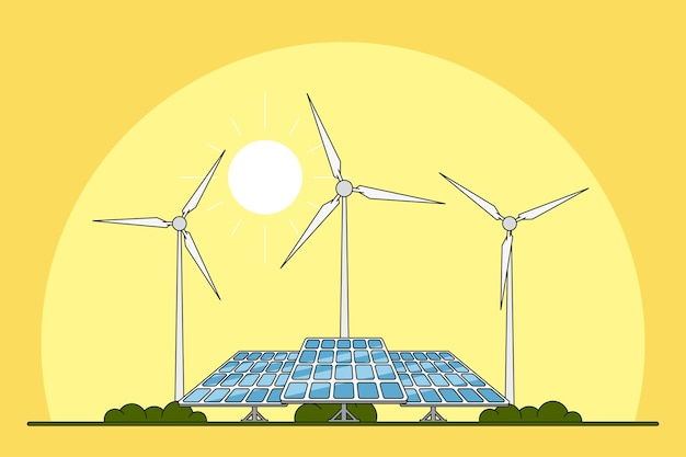 Picture of solar panels and wind turbines in front of desert landscape, renewable energy concept,  line
