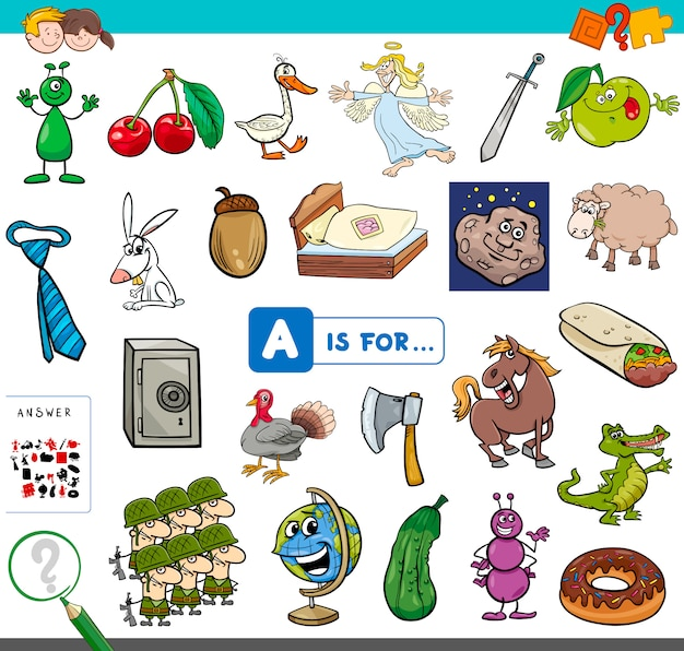 Picture starting with letter a educational game