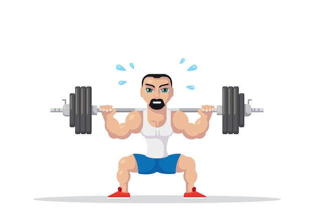 Picture of a strong athlete man doing squats with barbell on neck back. gym workout concept. flat style character design.