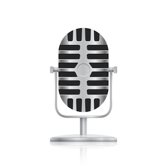 Picture of studio microphone on white background