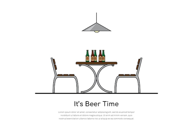 Picture of a table with two chairs and beer bottles, beer time concept,