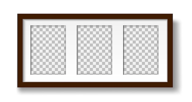 Picture on the wall layout of a mat frame for three photos for interior design mock up