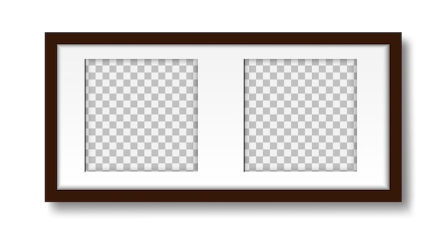 Picture on the wall layout of a mat frame for two photos for interior design mock up