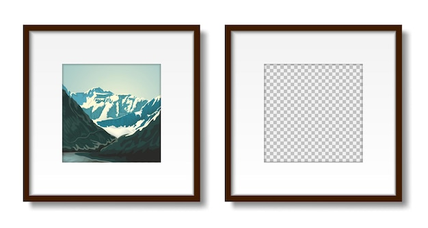 Picture on the wall set of empty frames with passepartout for interior design mockup