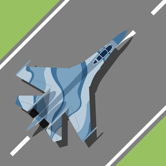 Picture of a war plane standing on landing strip,  style illustration