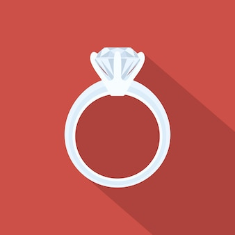 Picture of a white gold ring with diamond,  style illustration