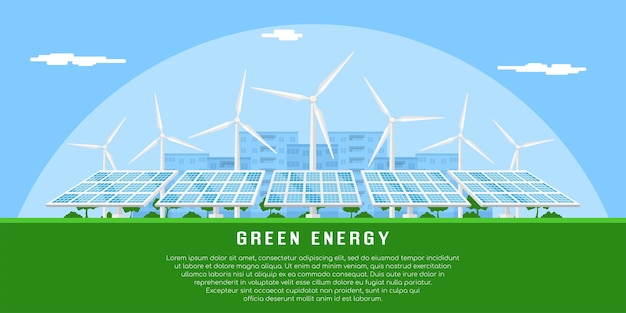 Picture of wind turbines and solar panels,   concept banner of renewable wind and solar energy