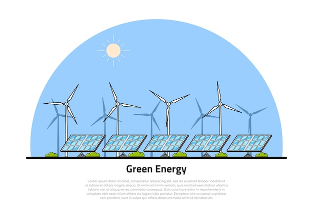 Picture of wind turbines and solar panels,     concept of renewable wind and solar energy