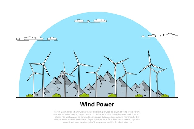 Picture of wind turbines with mountains on background,     concept of renewable wind energy