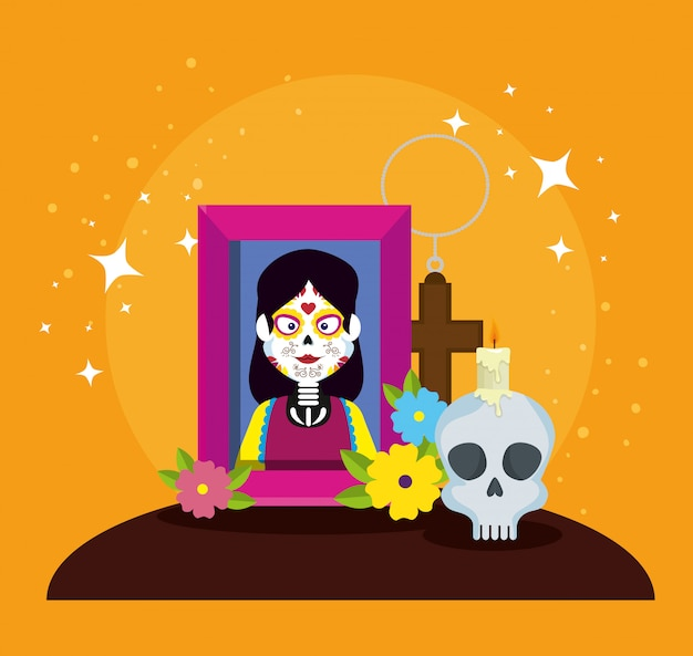 Picture with skull and flowers to day of the dead