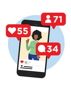 Picture of a woman in social network. smart phone. influencer. followers, likes, chat.