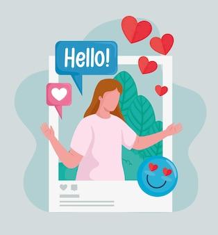心と絵文字ソーシャルメディアアイコンイラストで女性を描く