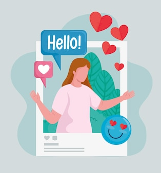 Picture woman with hearts and emoji social media icons  illustration