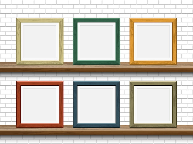Picture wooden frame mockup on shelf with white brick wall