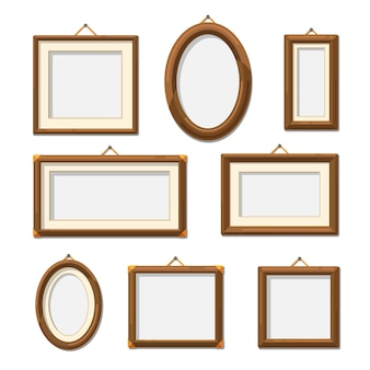 Picture wooden photo frames. photography frame decoration blank set.   illustration