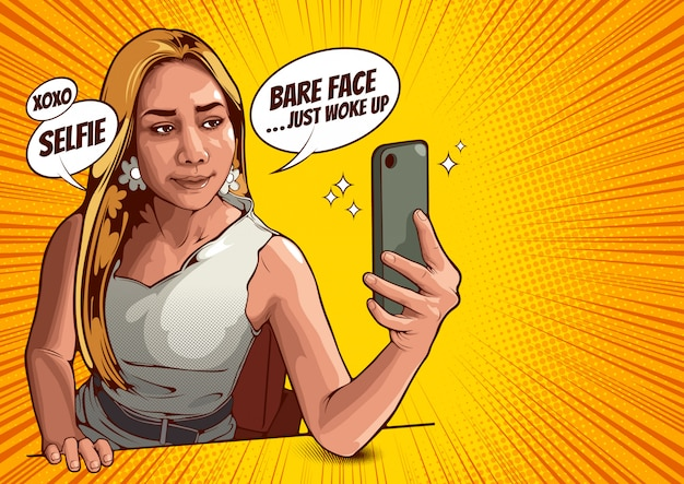 Picture of young women taking selfie with mobile phone,  illustration.