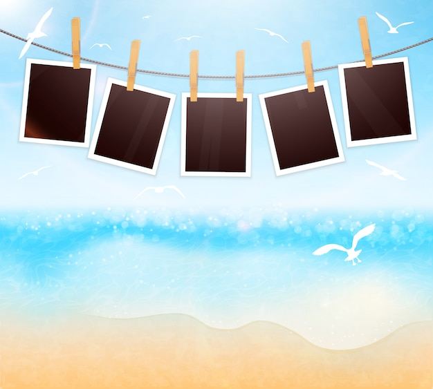 Pictures frames on seaside vector