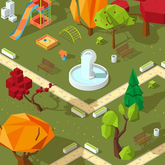 Pictures of isometric trees. 3d low poly stylized plants