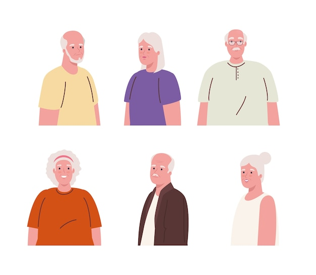 Pictures of old people united in white background
