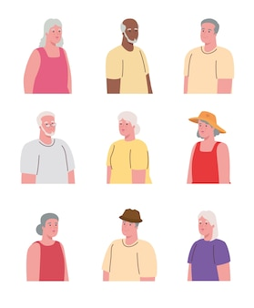 Pictures of old people united on white background