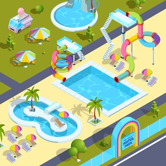 Pictures of outdoor attractions in water park. Premium Vector