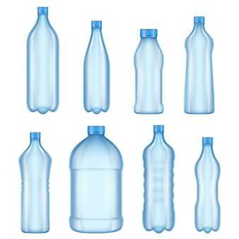 Pictures of various types transparent bottles