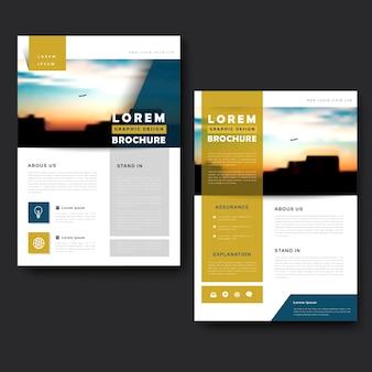 Живописный дизайн шаблона брошюры с городским пейзажем и размытым фоном