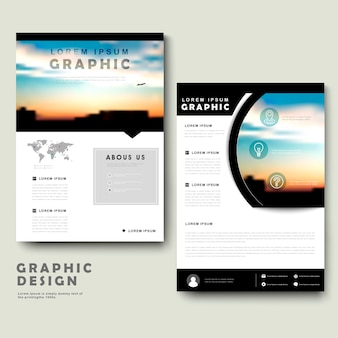 Picturesque brochure template design with city landscape