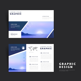Picturesque brochure template design with rising sun over the sea