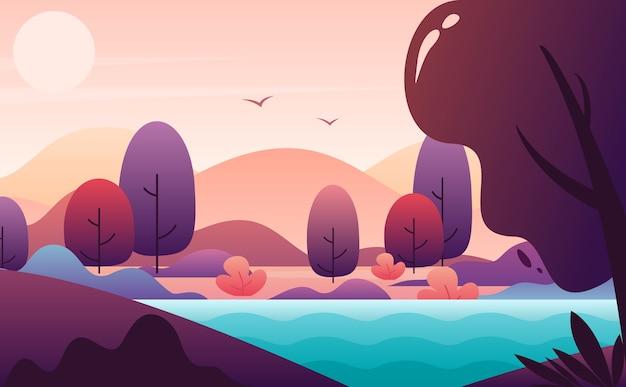 絵のような風景フラットイラスト。山の丘と青い川の夕景。静かで平和な秋の風景を背景に。朝の空の太陽、飛んでいる鳥。自然の地平線