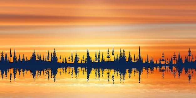 Picturesque reflection of the forest on the horizon and the sunset sky