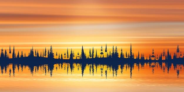 수평선과 일몰 하늘에 숲의 그림 같은 반사