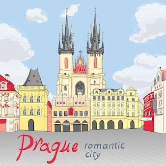 프라하, 체코 공화국의 구시 가지 광장의 그림 같은 전망