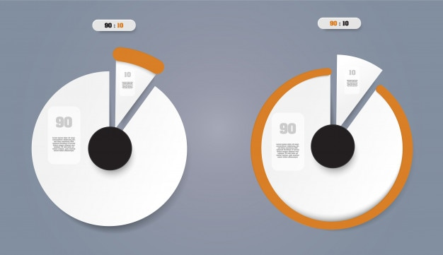 Pie chart  business concept with 2 options.