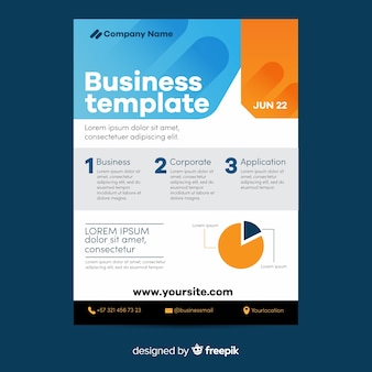 Pie chart geometric business flyer template