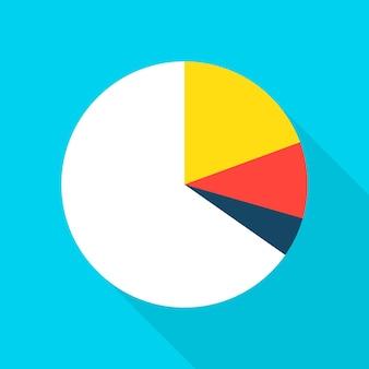 円グラフアイコン。長い影のベクトルイラストフラットスタイルアイテム。データ分析。
