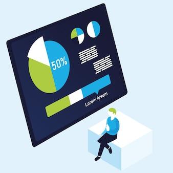 円グラフのインフォグラフィックと男のデザイン、データ情報と分析のテーマの図
