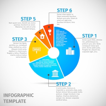 Pie chart real estate infographic template