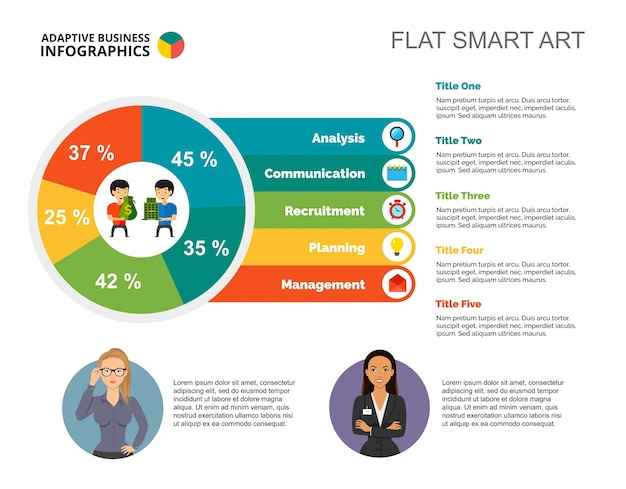Pie chart with five elements template