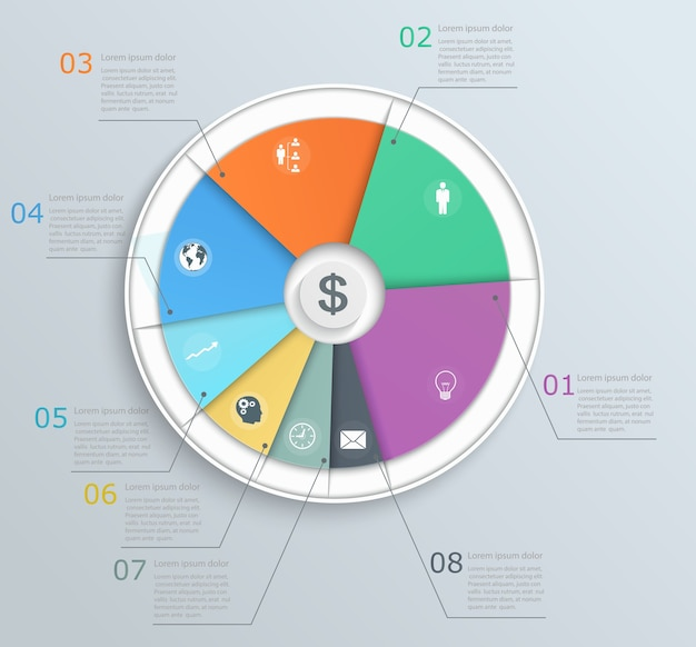 Pie chart with icons infographics for web and mobile banner step structure of the workflow business layout