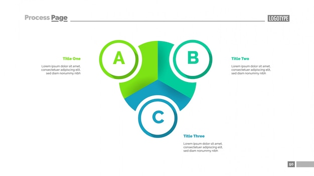 Pie diagram with three elements template