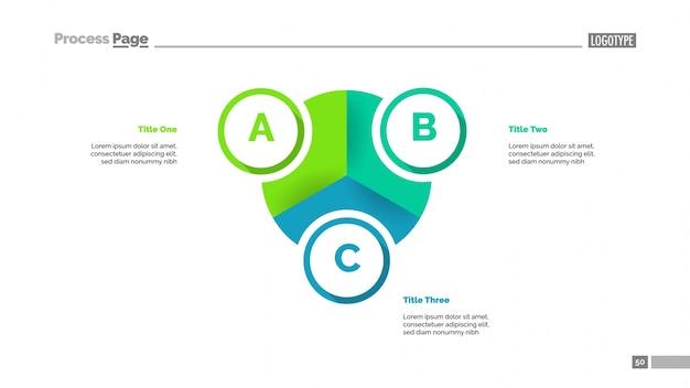 세 가지 요소 템플릿이있는 파이 다이어그램