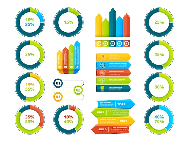Pie graphs vertical and horizontal arrows
