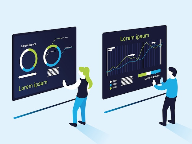 Pie and increase line charts infographics woman and man, data information and analytics theme illustration